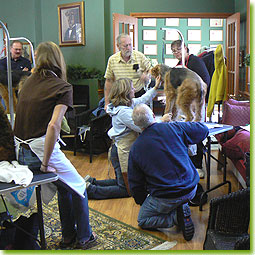 ATCC Grooming Seminar 2007 - Kelly Wood demonstrates the grooming of furnishings on Penny, owned by Mary Floro-White