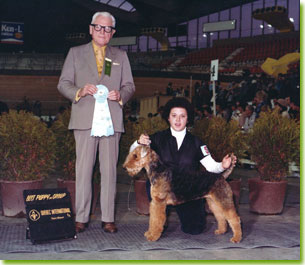 Johanne Lambert with her first Airedale, Kelly